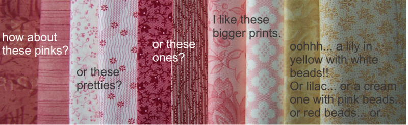 Fabric choices for Waterlily Dreaming Brooch