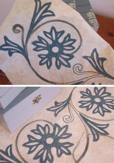 Playing with blue applique and stems