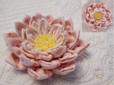 Waterlily Dreaming Brooch ~ Soft Pink for auction