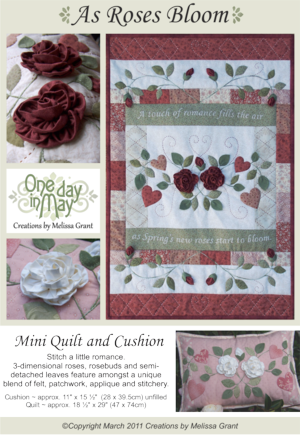 As Roses Bloom pattern cover One Day In May, Creations by Melissa Grant