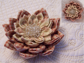 Waterlily Dreaming Brooch ~ Dusty Red for auction