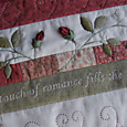 "Script detail from ""As Roses Bloom"" Quilt ~ One Day In May Creations by Melissa Grant"