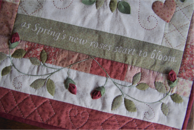 Script bottom - As Roses Bloom Quilt ~ One Day In May Creations by Melissa Grant