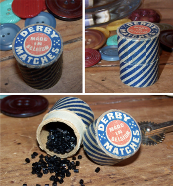 Vintage derby match box with beads