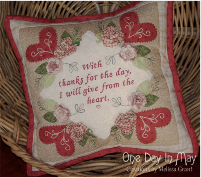 Thankful Block 1 and cushion ~ One Day In May 1