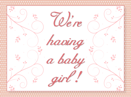 Baby Girl Announcement ~ One Day In May
