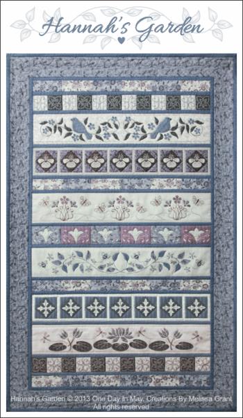 Hannah's Garden quilt+title+ frame